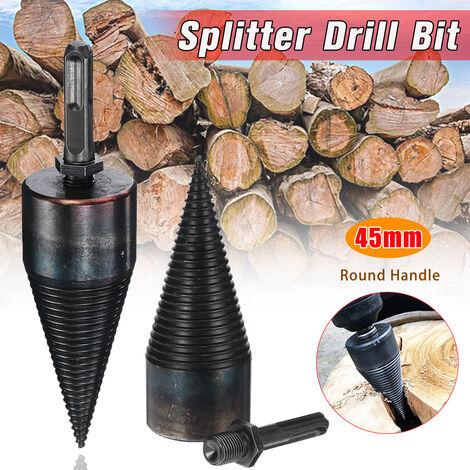Broca helicoidal de alta velocidad de 45 mm, conos de tornillo separadores de madera, división de acero negro (mango redondo)