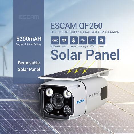 ESCAM QF260 WIFI HD 1080P 2MP Cámara de vigilancia inalámbrica IP67 Batería solar al aire libre Energía IP Cámara de vigilancia Seguridad PIR