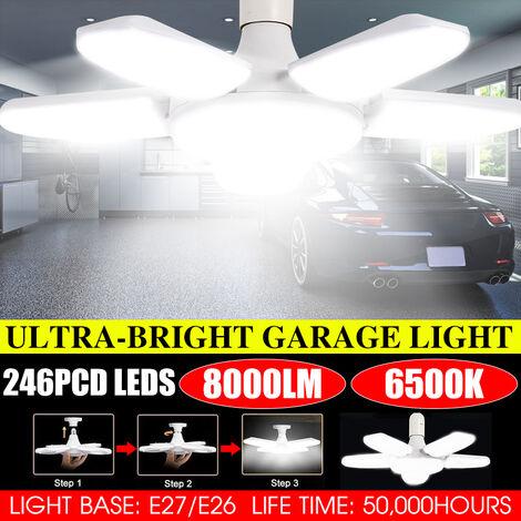 5 + 1 paneles LED Luz de garaje 80W 8000LM E26 / E27 Luces de techo LED deformables para garaje con paneles ajustables Luces LED para almacén