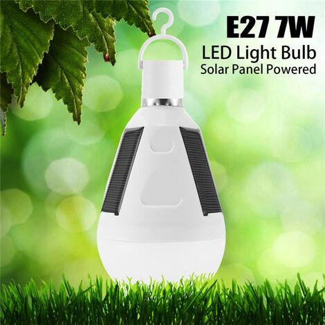 Bombilla LED con panel solar 5pcs, lámpara portátil para tienda de campaña para jardín al aire libre, luz nocturna de emergencia 7W