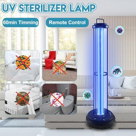 110V 60W Lámpara de esterilización UV Bombilla LED Lámpara de esterilización UV 0zone Lámpara de esterilización móvil Temporizador Control remoto (enchufe de EE. UU.)