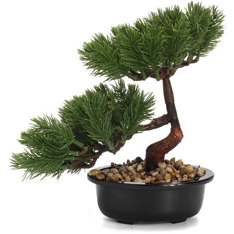 15-23cm Pino Bonsai Plantador artificial en maceta Planta Decoración del jardín del hogar (Verde oscuro)