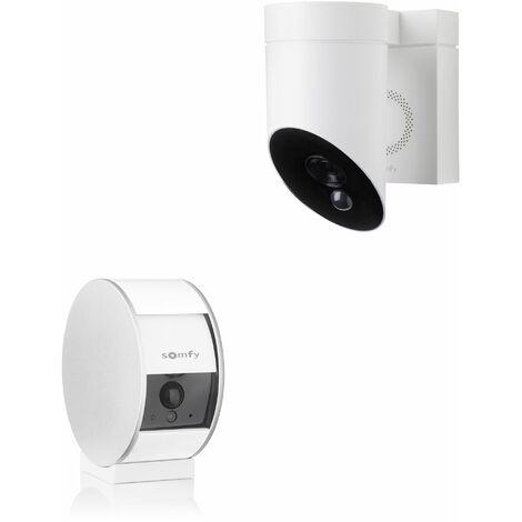 1 caméra intérieure Somfy Indoor Camera et 1 extérieure Somfy Outdoor Camera blanche - 1875252 - Blanc