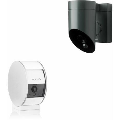 1 caméra intérieure Somfy Indoor Camera et 1 extérieure Somfy Outdoor Camera grise - 1875253