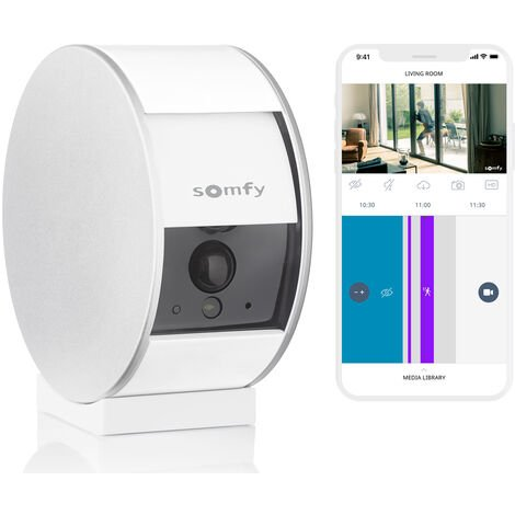 Somfy Indoor Camera, caméra de surveillance intérieure avec support mural - 1875251 - Blanc