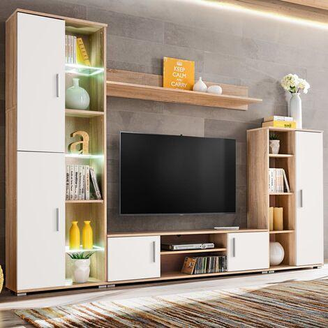 Meuble TV mural avec lumière LED Chêne sonoma et blanc Meuble TV de salon