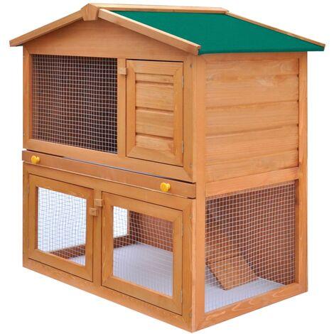 Clapier d'extérieur Enclos pour petits animaux Cage pour lapins, chats 3 portes Bois