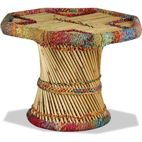 Table basse Bambou avec Détails Chindi Multicolore