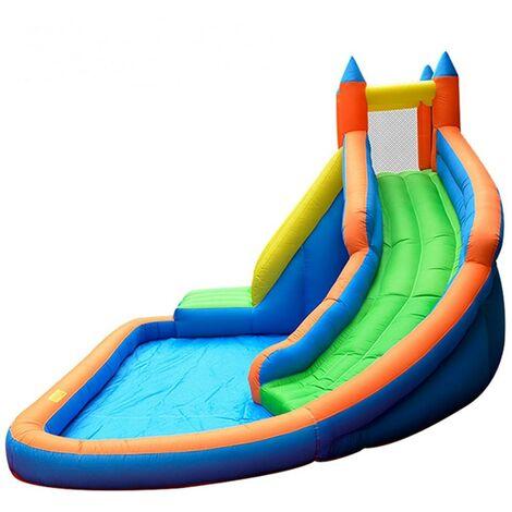 Château Aquatique Gonflable pour enfants - Aire de jeux extérieure avec Escalade, Tobbogan et Piscine 400x300x250cm