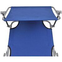 Chaise longue pliable avec auvent Transat Acier et tissu Bleu