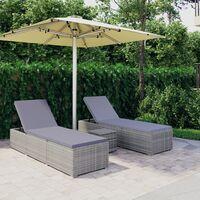 Chaises longues de jardin table à thé 3 pcs Résine tressée Gris