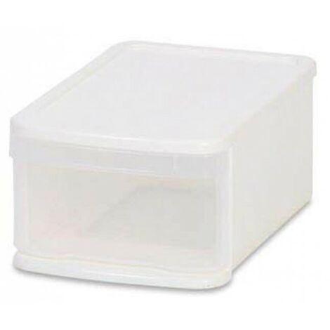Lot de 6 boites de rangement H. 174 mm à tiroirs empilables - Blanc - Blanc