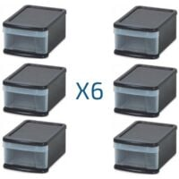 Lot de 6 boites de rangement H. 174 mm à tiroirs empilables - Noir - Noir