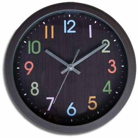 Reloj Pared Negro Numeros Colores 25.8 Cm - INALSA - 7113..