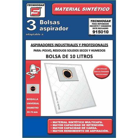 Bolsa Aspirador Industrial 3U 10L 36X41 Cm - TECNHOGAR - 915010