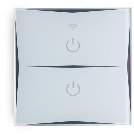 Interruptor Inteligente Táctil Cristal 2 Vía 1200W Compatible Google Home/Alexa [HIT-KS-601-2] (HIT-KS-601-2)