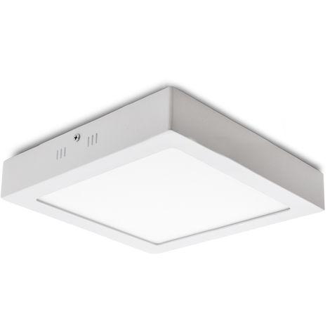 Plafón LED Cuadrado Superficie 300Mm 24W 1900Lm 30.000H   Blanco Cálido (HO-PLAF-R-24W-CW)