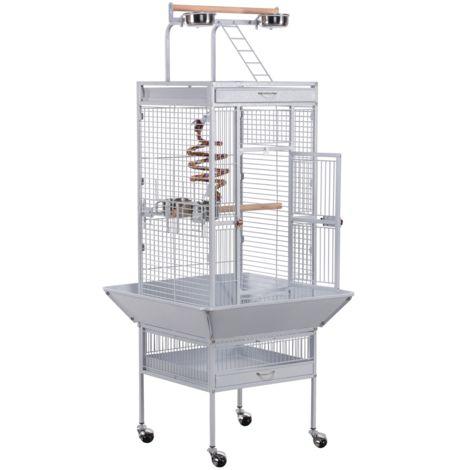 Yaheetech Grande Cage Perroquet Volière Oiseaux Métal Roulettes Mobile Zone Jeu Cacatoès Perruche Canaris Perroquet Blanche