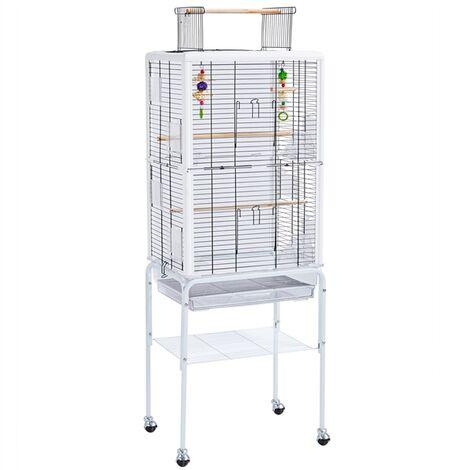 Yaheetech Cage Oiseau Transparent Détachable Toit Ouvrable sur Pied à roulettes avec Jouets et Echelles pour Petits Oiseaux Perruches Inséparables Canaries Calopsitte élégante Pinsons