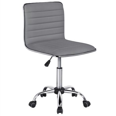 Yaheetech Chaise de Bureau sans Accoudoir à Dossier Bas Fauteuil de Bureau Travail à roulettes Assise Réglable Chaise d'Ordinateur 120 kg Blanche Chaise pour Chambre Gris