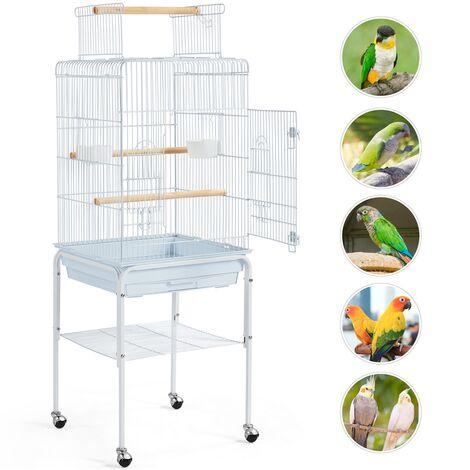 Yaheetech Grande Cage à Oiseaux sur 4 roulettes Volière Perruche Perroquet Canaris 52 x 79 x 131 cm 3 Perchoirs 2 Porte Avant