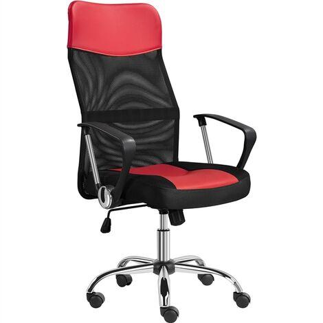 Yaheetech Chaise Bureau Ergonomique en Maille Inclinable Fauteuil de Bureau Pivotant Hauteur Réglable Dossier Haut Grande Taille Rouge