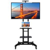 Yaheetech Support Meuble TV sur Pied à roulettes avec Frein pour 32 à 65 Pouce écrans/LCD/LED/Plasma VESA 200x200 mm à 600x400 mm Support TV Mobile Chariot d'affichage Réglable 3 Etagères