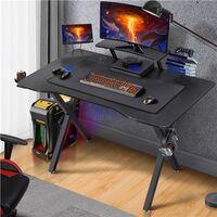 Yaheetech Bureau Gaming 110x70cm Bureau Gamer Ergonomique Table de Jeu pour Ordinateur PC Domicile avec Support de Moniteur, Porte-gobelet, Support de Poignée