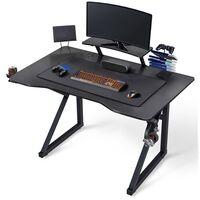 Yaheetech Bureau Gamer Bureau Gaming Ergonomique Table de Jeu pour Ordinatuer PC à Domicile Surface en Fibre de Carbone avec Grand Tapis de Souris Pied en Forme de K