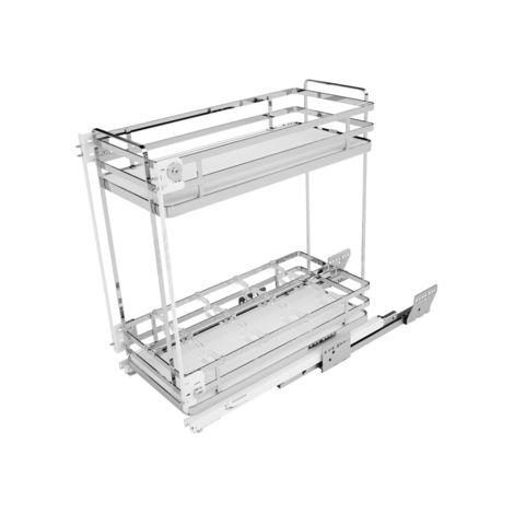 Combiné bas coulissant 2 niveau panier f. blanc Soft SIGE pour meuble de 300mm - L.260/268xP.500xH.520 - 004+300