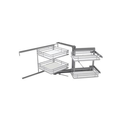 Mécanisme SIGE pour meuble d'angle 900mm + 4 paniers fond blanc L.860xP.500xH.600 - droite soft - 350+D