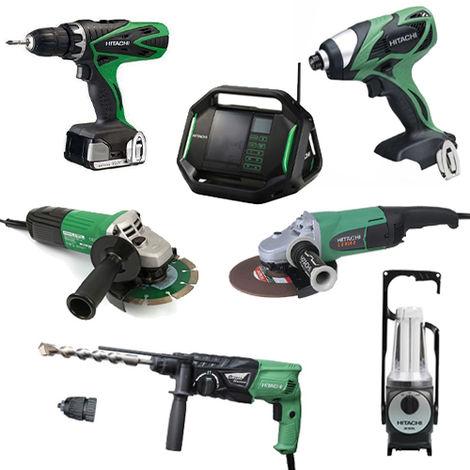 Lot Perceuse + 6 outils -2 batteries 18V 3Ah Hitachi/Hikoki