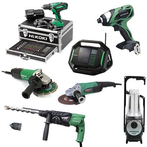 Lot Perceuse + 6 outils -2 batteries 18V 2,5Ah Hitachi/Hikoki
