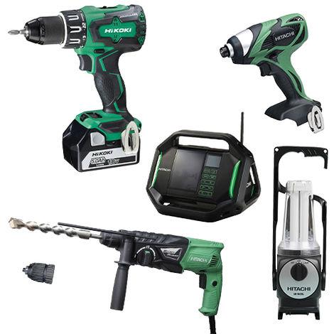 Lot Perceuse + 4 outils -2 batteries 18V 5Ah Hitachi/Hikoki