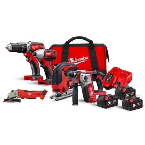 Pack 5 Machines + 3 Batteries 5Ah + Chargeur M18BPP5A-503A MILWAUKEE - 4933472243