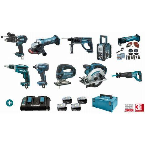 Lot 10 machines MAKITA 18V 4 Batteries 5Ah + Chargeur Double + Perceuse Visseuse + Visseuse à Choc + Meuleuse + scie sauteuse + découpeur ponceur + radio + scie circulaire + visseuse plaquiste + scie récipro + perfo-burineur - LMK18