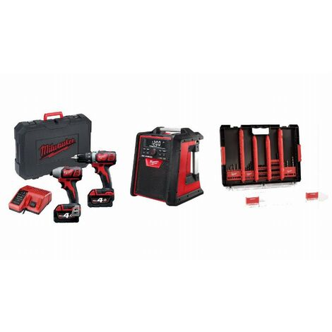 Lot 18V MILWAUKEE 2 batteries + chargeur - Perceuse visseuse + visseuse à chocs + radio + HDBox 50 accessoires - LMKE1
