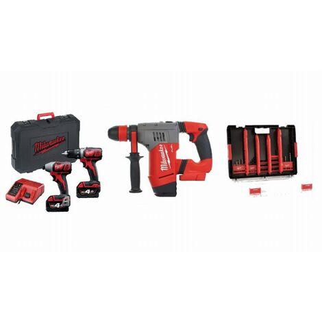 Lot 18V MILWAUKEE 2 batteries + chargeur - Perceuse visseuse + visseuse à chocs + Perforateur SDSPlus + HDBox 50 accessoires - LMKE4