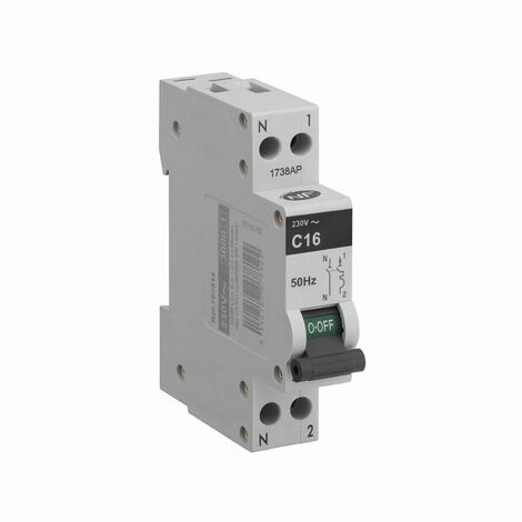 Disjoncteur 3KA phase + neutre 16 ampères DEBFLEX Gris - 707814