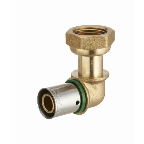 Coude à sertir profil TH pour tube PER NOYON & THIEBAULT - Ø 12 mm à visser femelle écrou libre F1/2' (15x21) Bague à sertir en inox - 3789-1512L1