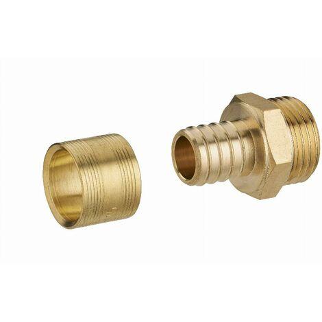 Raccord droit à glissement pour tube PER NOYON & THIEBAULT - Ø 20 mm à visser mâle M3/4' (20x27) Bague en laiton - 3186-2020L1