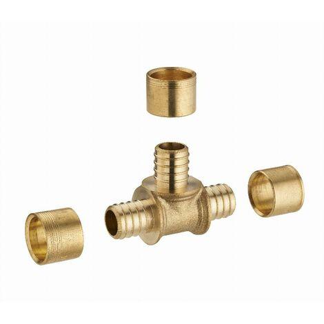 Té égal à glissement pour tube PER NOYON & THIEBAULT - Ø 20 mm Bague en laiton - 3190-20L1