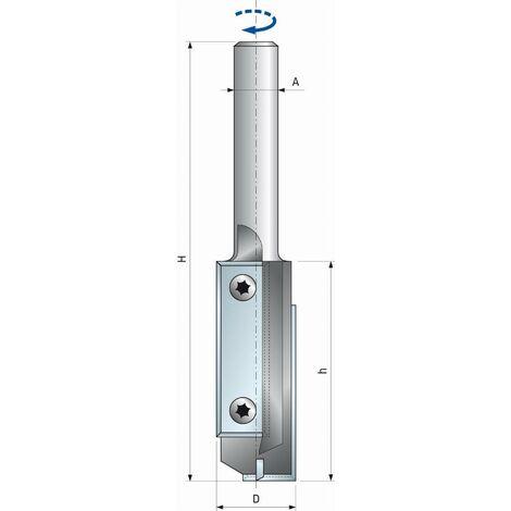 Fraise droite à plaquettes réversibles interchangeables FREUD - Ø16 H50/105 Q12 Z2+1 - F03FA13927 -TG62MD AD3