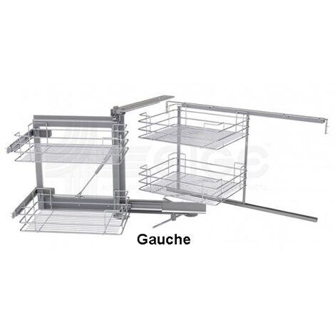 Mécanisme meuble angle de 900 SIGE + 4 paniers chromés L.860 P.500 H.600/850 gauche soft - 350 GAUCHE