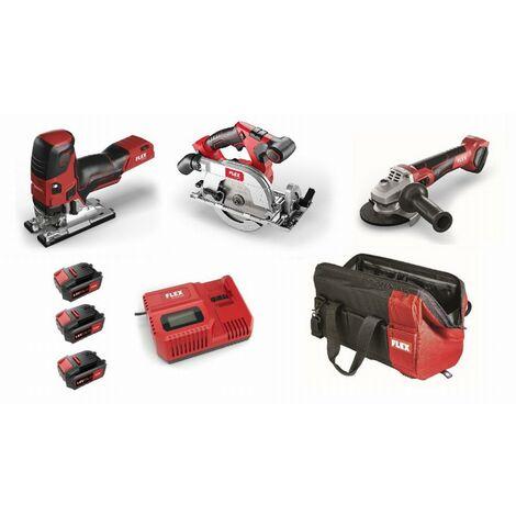 Lot 18V FLEX - Scie sauteuse + Scie circulaire + meuleuse - 3 batteries + chargeur + accessoires