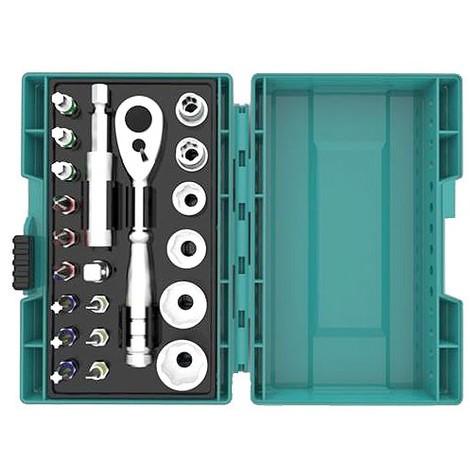 Clé à cliquet en coffret MAKITA - 21 pièces - 12 embouts + 6 douilles + 1 adaptateur 1/4 + porte-embout magnétique - B-54081