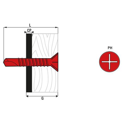 Vis autoperceuse à ailettes tête fraisée SCELL-IT - Cruciforme - 4.8 x 38 mm - Boîte de 250 - TFAC48038