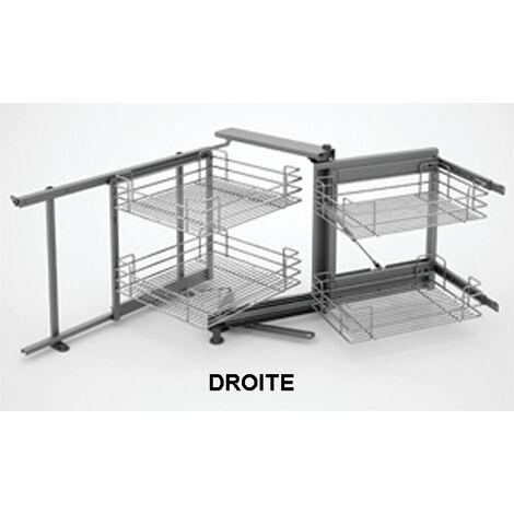 Mécanisme meuble angle de 900 SIGE + 4 paniers chromés L.860 x P.500 x H.600/850 droite soft - 350 DROITE