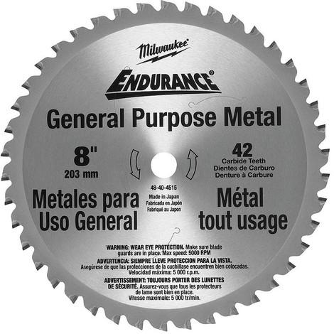 Lame scie circulaire métal MILWAUKEE Ø 203 mm - 42 dents - 48404515