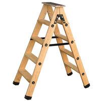 Escabeau double accès bois 2x4 marches + tablette CENTAURE - 483604